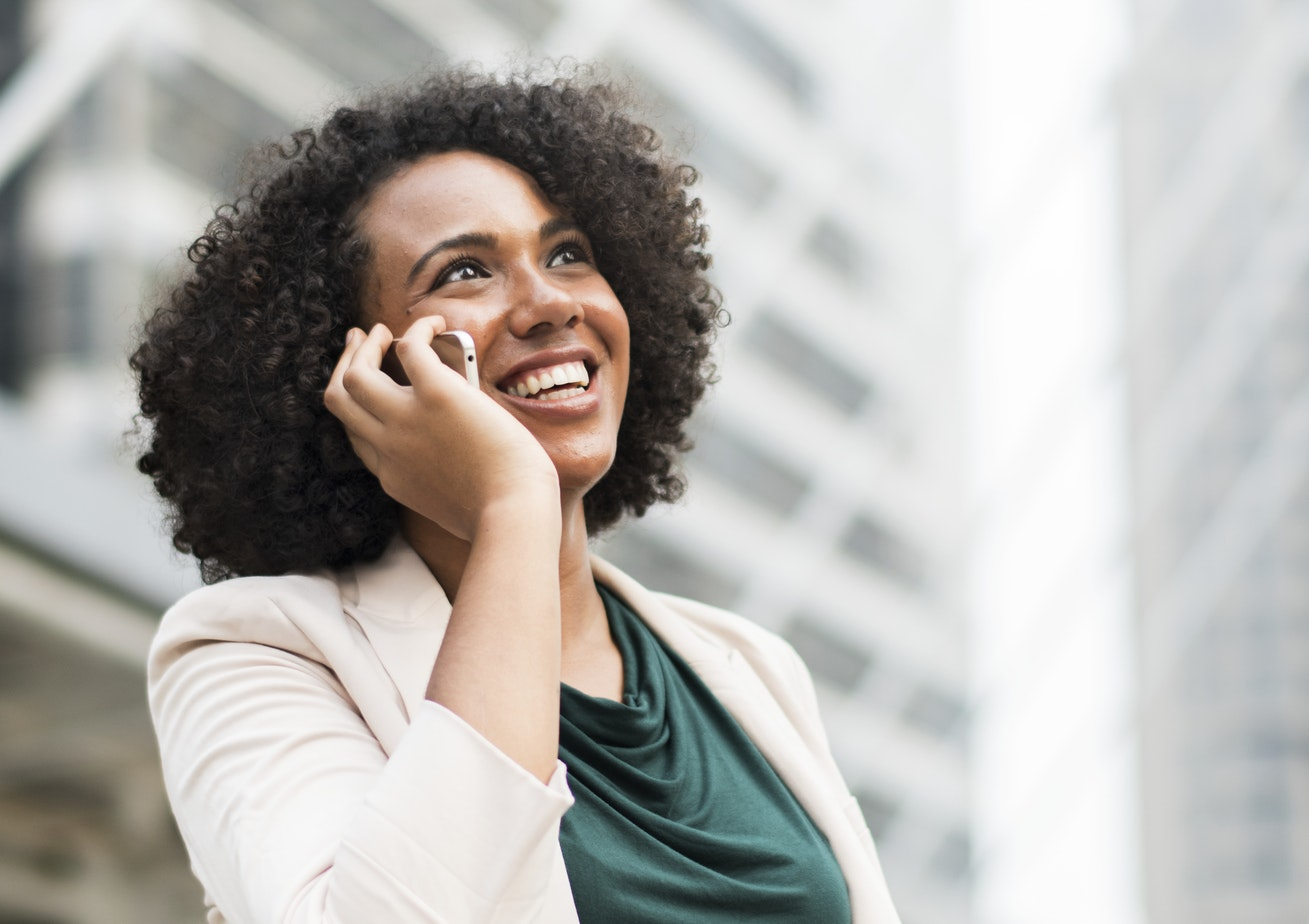 woman on the phone mobile working crm telephony
