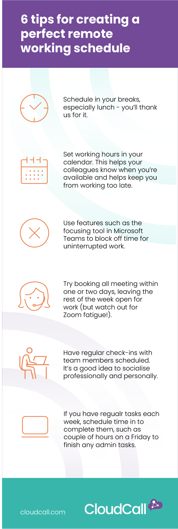 6 tips for mastering your remote working schedule infog