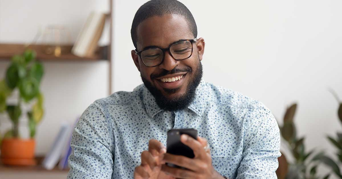 male using mobile phone